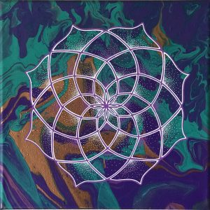 acrylic mandala painting on canvas in purple, green and copper