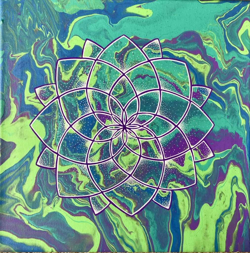 acrylic mandala painting on canvas in green, blue, purple
