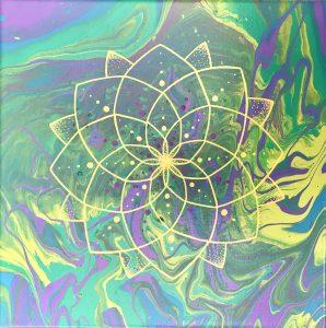 acrylic mandala painting on canvas in green, purple, yellow